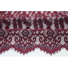 Nylon Cotton Rayon Wine Sophia Panel Lace Fabric