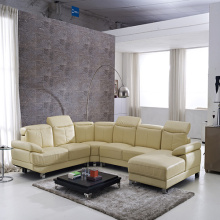 Kaki Logam U-Shaped Leather Corner Sofa Set