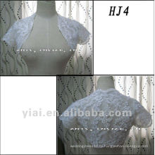 HJ4 Бесплатная доставка высокое качество на заказ красивая аппликация с коротким рукавом Белый Туллер Свадебные куртка