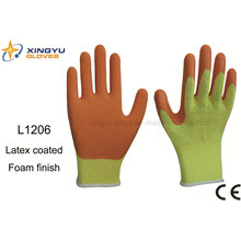 10g T / C espuma de látex de Shell recubierto guante de trabajo de seguridad (L1206)