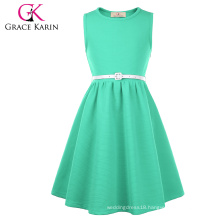 Grace Karin Children Sleeveless Round Neck A-Line Aquamarine Kids Girls Dress CL010482-4