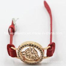 2015 Novo modelo de aço inoxidável pulseira de couro com Locket