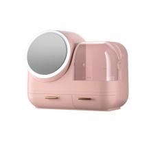Caja de almacenamiento de maquillaje con espejo iluminado giratorio de 360 °