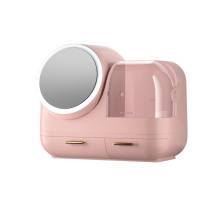 Makeup Storage Box With 360° Rotating Lighted Mirror