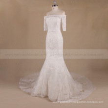 Pretty Off Shoulder 1/2 Sleeve Mermaid Lace Chapel Train Wedding Dress