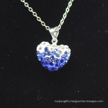 Wholesale Heart Shape New Arrival Gradient Color Blue and White Crystal Clay Shamballa With Silver Chains Necklace