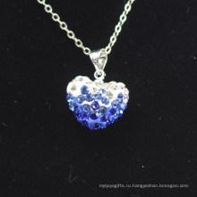 Оптовое сердце формы нового прибытия градиента цвета синий и белый кристалл глины Shamballa с серебряными цепочками ожерелье