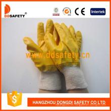 Guantes de trabajo de algodón que cubren el nitrilo amarillo Dcn403
