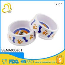 Hot selling round pet ware melamine plastic dog bowl