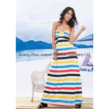 Muti Streifen trägerlosen Maxi Kleid