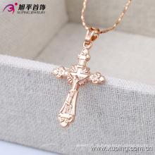 32396 moda simple oro rosa jesús cruz joyería de imitación colgante de cadena en aleación de cobre