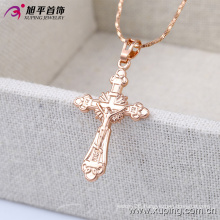 32396 Fashion Simple Rose Gold Jesus Cross Imitation Jewelry Chain Pendant in Alloy Copper
