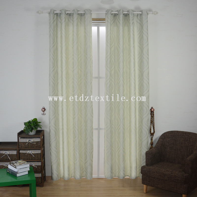 6018 Typical Ivory Color Popular Typical Designs of 100% Polyester Slub Cationic Piece Dyed Linen Like Curtain fabric