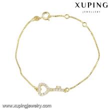 Forma del corazón de la pulsera linda de la moda de 74364 xuping para las señoras con la piedra blanca plateada