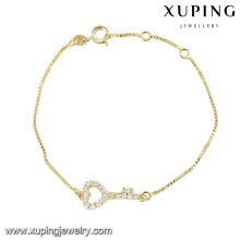 74364 xuping forma bonito pulseira coração forma para senhoras com pedra branca banhado