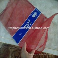bolsa plástica roja barata de la malla del poli para el ajo