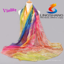 Lingshang 2015 latest designs for ladies new fashion dress flower print gauze scarf chiffon shawl magic pashmina scarf