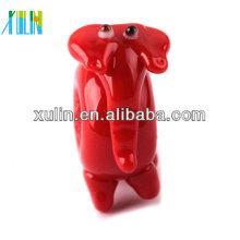 glossy red mini big hole calf elephant glass beads