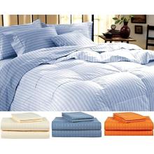 King Blue Striped Bed Sheet Set - 4 Stück Set
