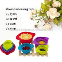 Copos de medição de silicone coloridos ecológicos