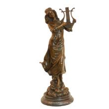 Musik Deco Messing Statue Klassische Weibliche Handwerk Bronze Skulptur Tpy-991