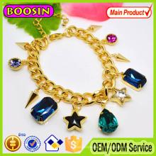 Fashion Lady′s Austrian Sapphire Crystal Charm Bracelet/Golden Plated Crystal Rosary Bracelet