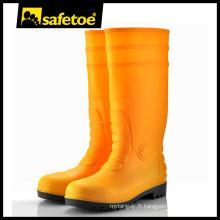 Bottes en pvc jaune, boutons de pluie moulés, bottes de sécurité pvc S5 W-6038Y