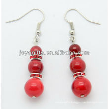 Red coral with red alloy beads earring