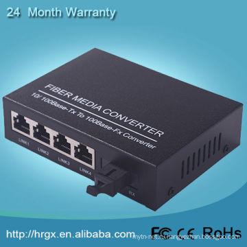 Человечества 1 4 волокна локальных сетей 10/100m КТК волоконно-оптических медиа конвертер