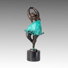 Bailarín Bronce Escultura Chubby Señora Decoración De Hogar Estatua De Latón TPE-356