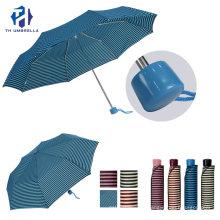 3 Fold Short Handle Pongee Fiberglass Folding Rain Umbrella