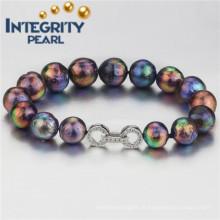 Bracelete de pérolas de água doce natural de prata esterlina de 10 a 12 mm AA
