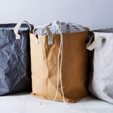 bolsa de almacenamiento de luandry de papel kraft lavable personalizado
