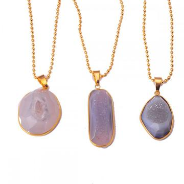 Real Agate Necklace with Druzy Crystal Pendant and gold Chain