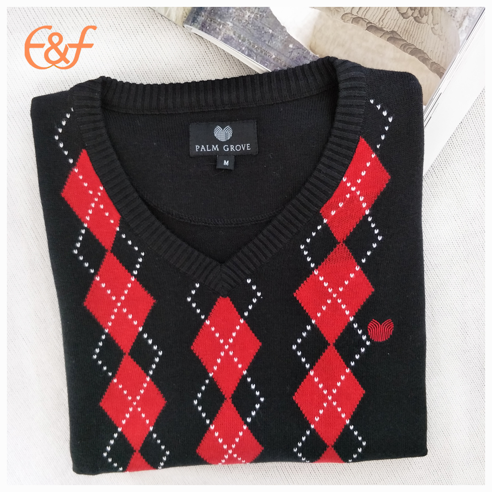 Jacquard argyle men's sweater