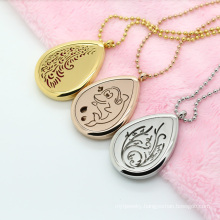 Fashionable 25mm 30mm Water Shape Essential Oil Diffuser Perfume Locket Pendent