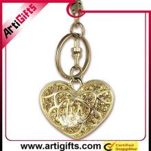 porte-clés en forme de cœur avec strass