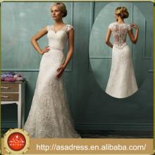 AMS05 Elegant Long Trumpet Cap Sleeve V Neck Bride Gown Sheer Back Lace Beach Wedding Dress