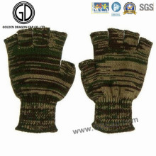 Camo Warm Fingerless Glove/Acrylic Knitted Jacquard Winter Glove