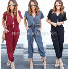 2017 New fashion hot sell women clothing short sleeve v neck sexy bandage adult rompers
