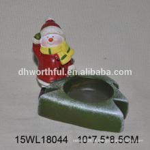 Fábrica de vendas diretas vela de cerâmica titular em forma de boneco de neve para decoração