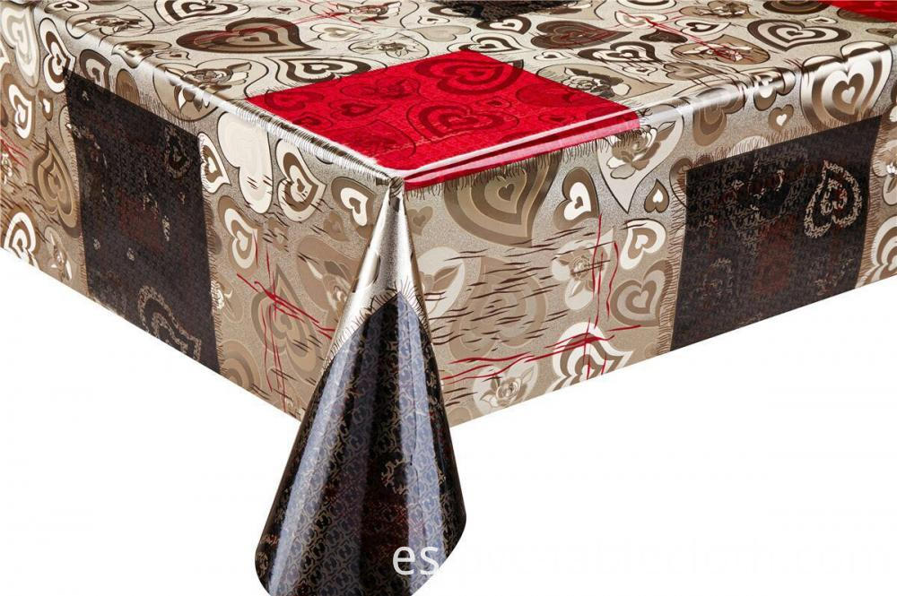 Silver Gold Emboss Fabric Tablecloth 2