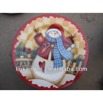 Placa KC-02520decorative para la Navidad, placa plana redonda del muñeco de nieve