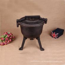 Gusseisen-Nicht-Emaille-Holländer-Ofen mit drei Beinen