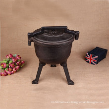 cast iron non enamel dutch oven with three legs
