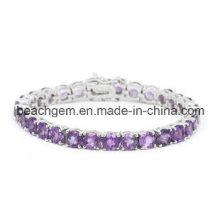 Bracelet argent améthyste bijoux de mode (BR0015)