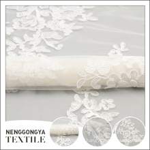 China factory fashionable tape embroidered tulle white fabric flower