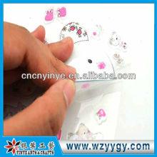 Etiqueta engomada del precio bajo para la decoración, etiqueta engomada del PVC impresión palstic