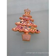 Shinning Gold Weihnachtsbaum Abzeichen mit Diamanten (GZHY-LP-005)