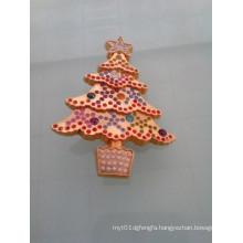 Shinning Gold Christmas Tree Badge with Diamonds (GZHY-LP-005)